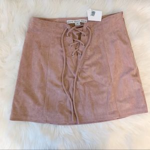 NWT Pink suede mini skirt lace up detail MEDIUM